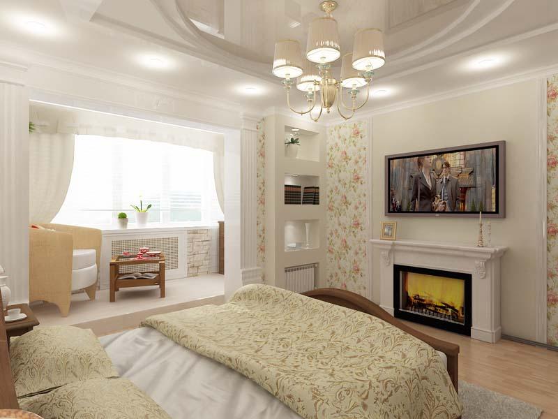 Примеры интерьера спальни с совмещенным балконом.